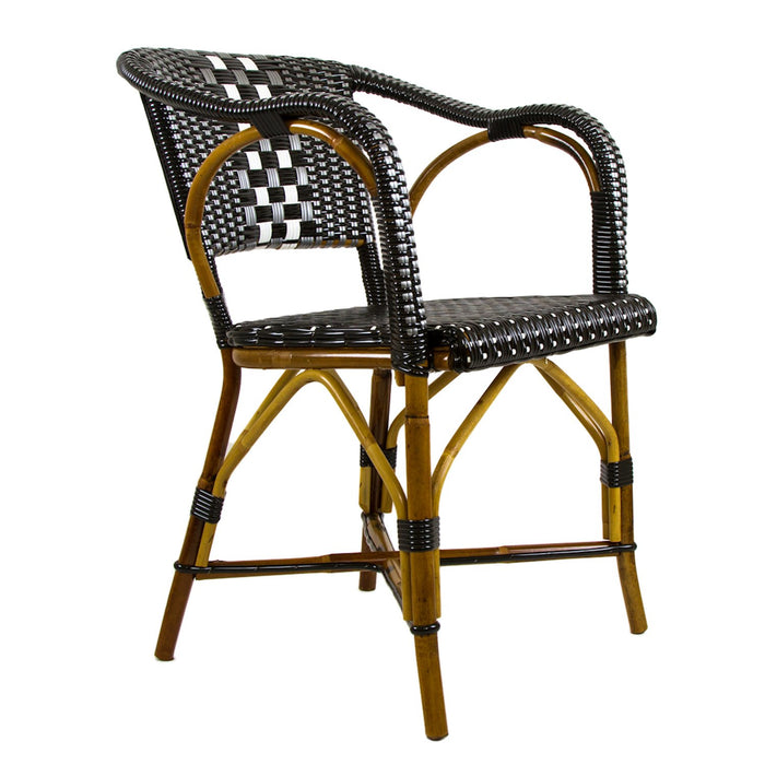 Black, Silver & White Mediterranean Bistro Chair with Woven Arms (W)