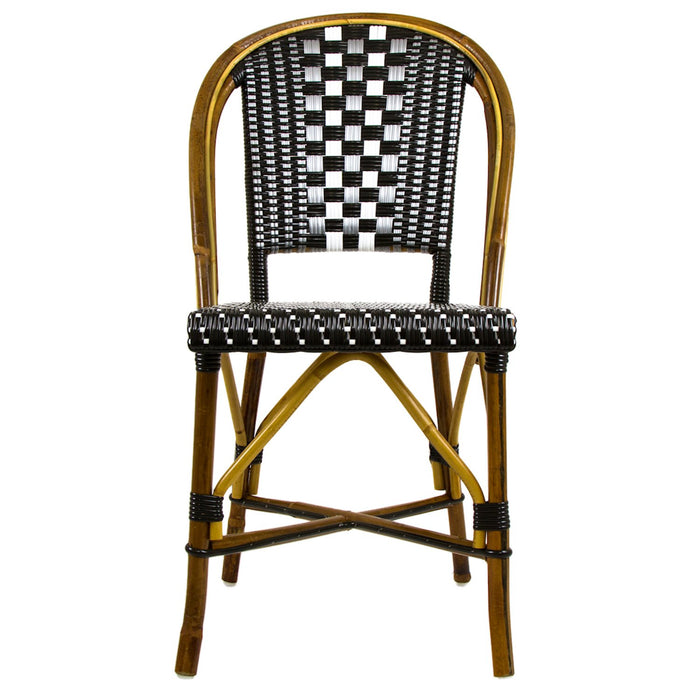 Black, Silver & White Mediterranean Bistro Round Back Chair (I)