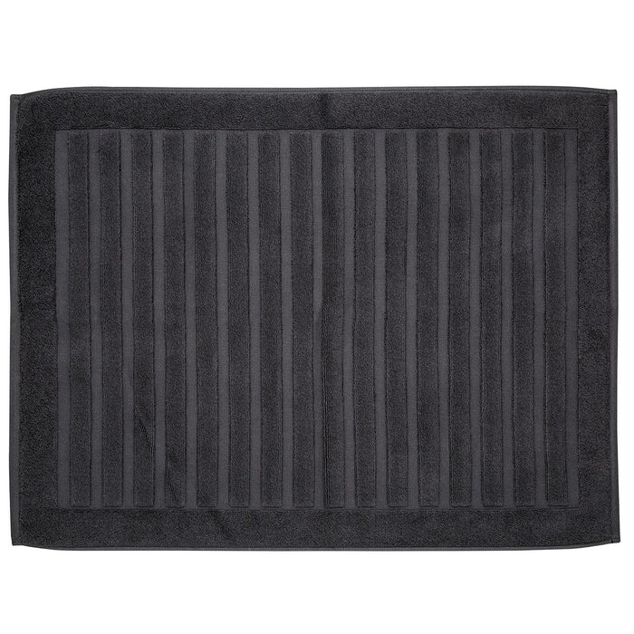 "Black Striped Bath Mat (31x23"")"