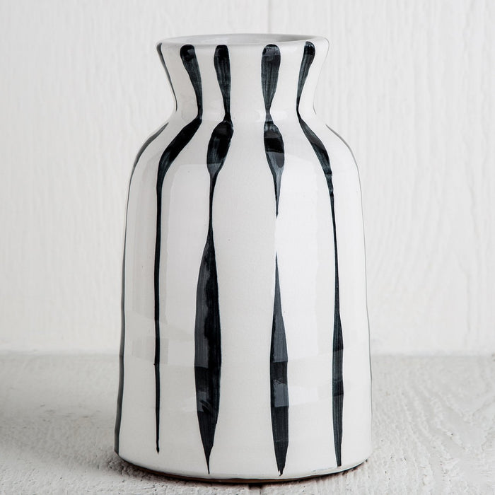 Black Striped Vase