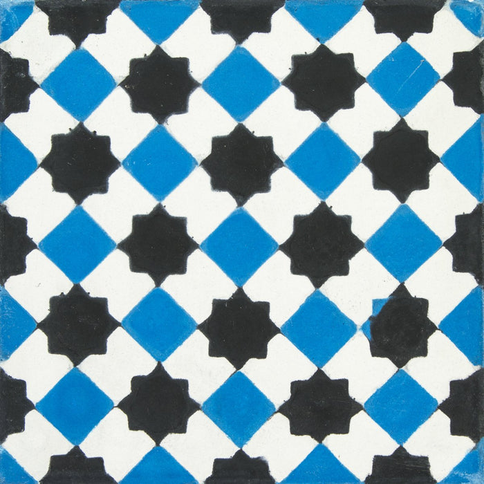 "Black, White & Blue Petit Latti Carocim Tile (8"" x 8"") (pack of 12)"
