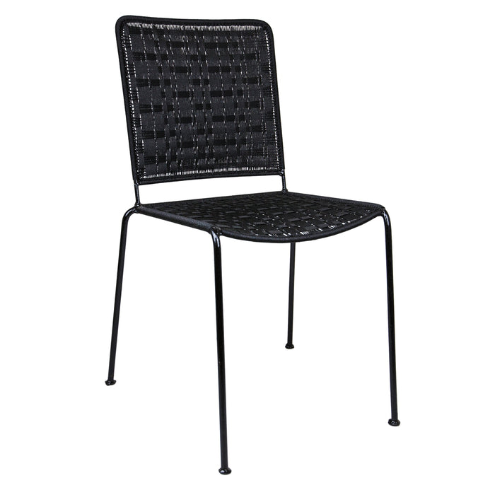 Black Woven Artisan Metal Chair