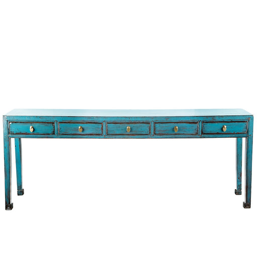 Blue 5-Drawer Console
