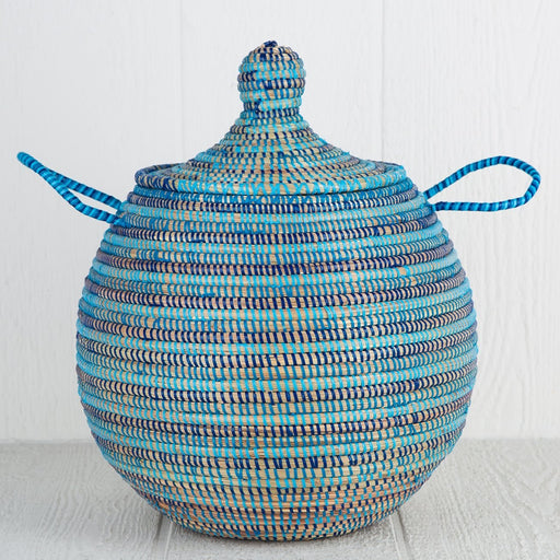 "Blue African Basket Bell Jar With Lid - Large (16""h)"