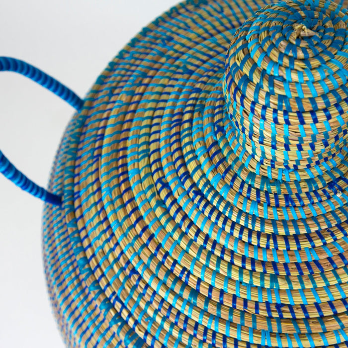 "Blue African Basket Bell Jar With Lid - Medium (26""h)"