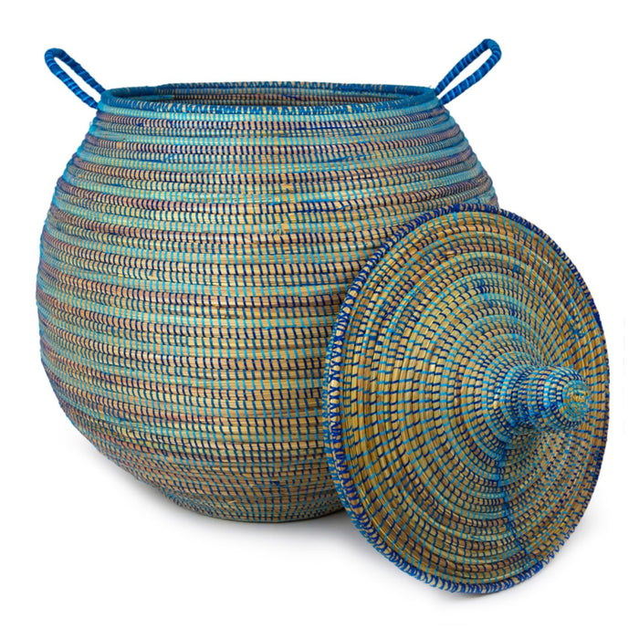 "Blue African Basket Bell Jar With Lid - Large (31""h)"