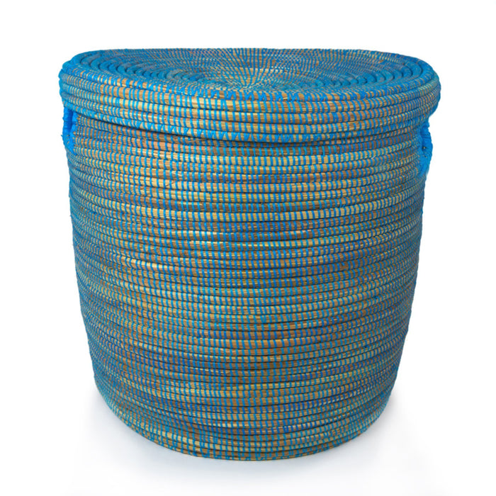 "Blue African Basket Hamper With Lid - Small (15""h)"