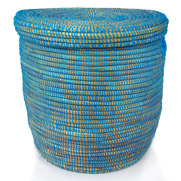 "Blue African Basket Hamper With Lid - Large (21.5""h)"