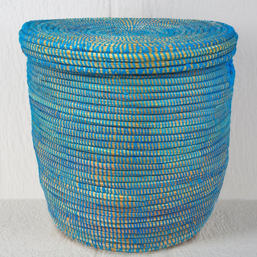 "Blue African Basket Hamper With Lid (21.5""h)"
