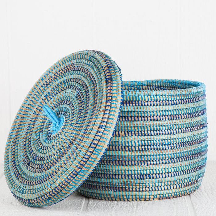 "Blue African Basket With Lid - Large (9.5""h)"