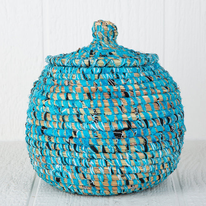 "Blue African Candy Box With Lid (9""h)"