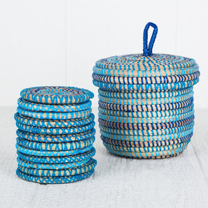 Blue African Coaster Set (12 piece)