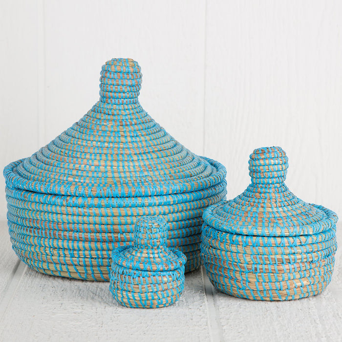 "Blue African Nesting Box With Lid - Small (3.5""h)"