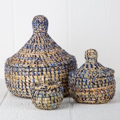 Blue African Nesting Boxes With Lid