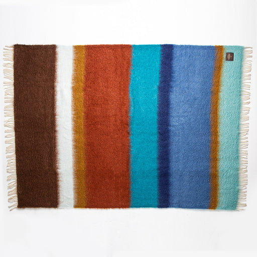 Blue and Brown Stripe Mohair Throw Blanket