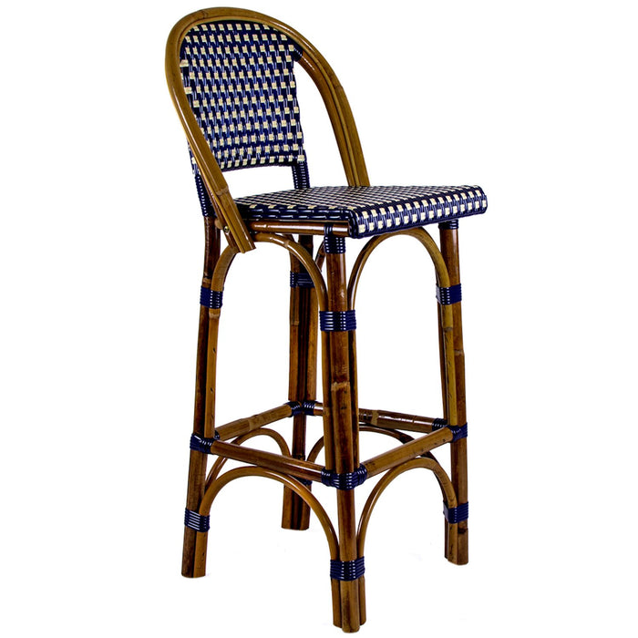 "Blue & Cream Mediterranean Bistro Bar Stool with Back (29"" h. seat) (E)"