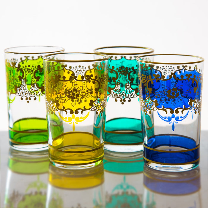 Blue and Gold Ornate Moroccan Tea Glass