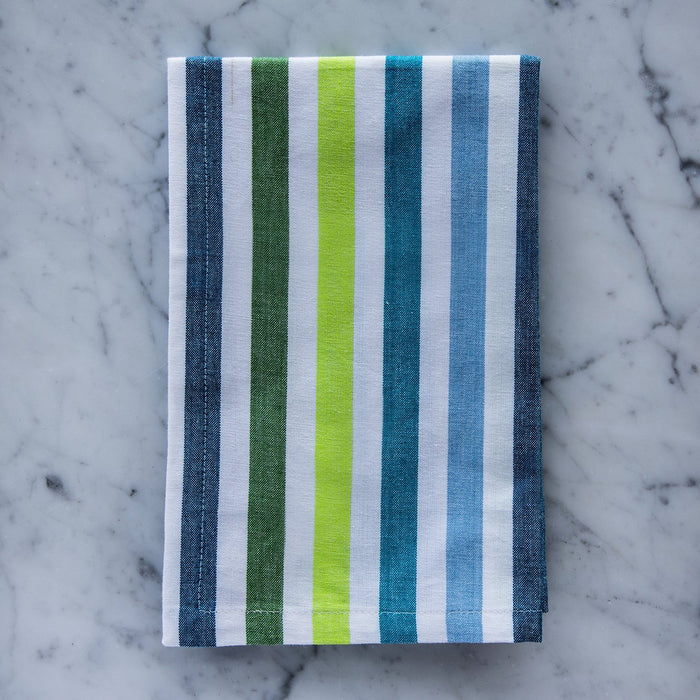 "Blue & Green Sangam Stripe 100% Cotton Single Stitch Napkin (18"")"