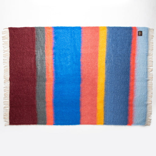 Blue and Maroon Stripe Mohair Throw Blanket
