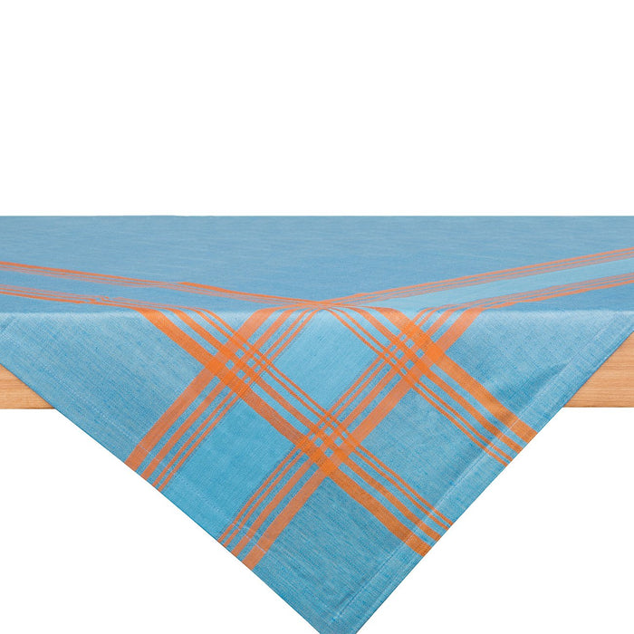 Blue and Orange Toalha Linen Tablecloth