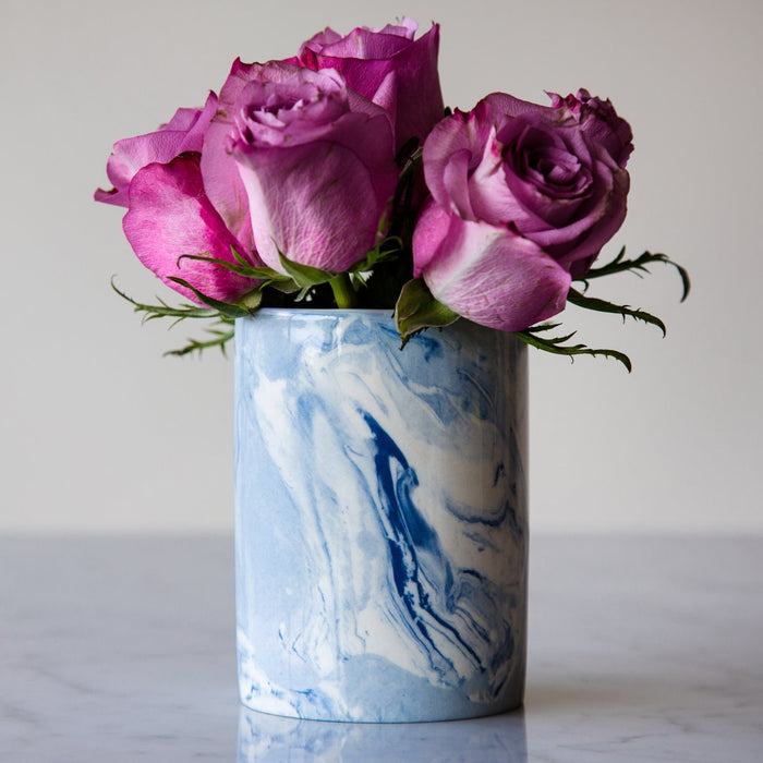 "Blue & White Marbleized Vase (4.375"" h)"