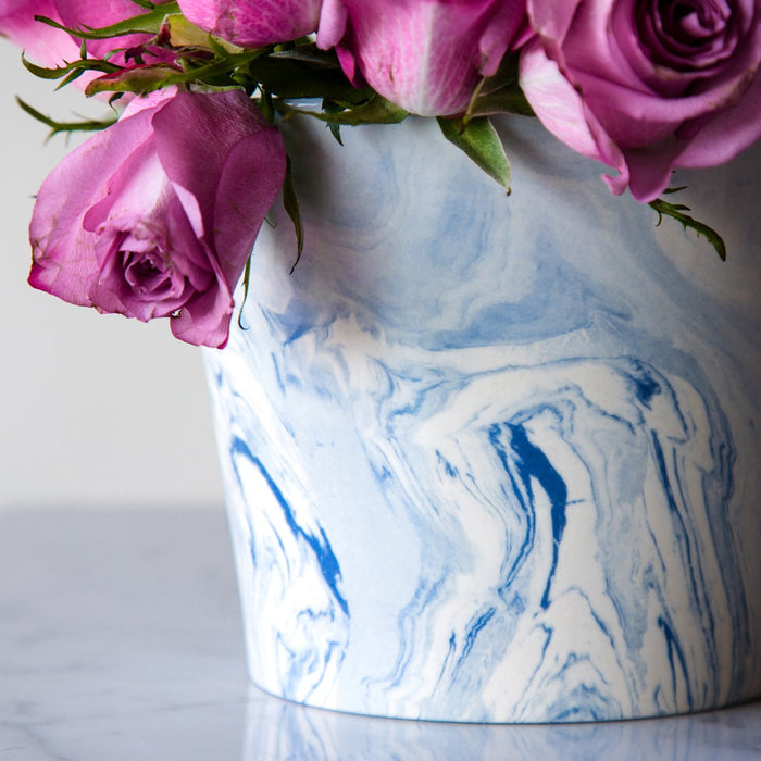 "Blue & White Marbleized Vase (4.5"" h)"