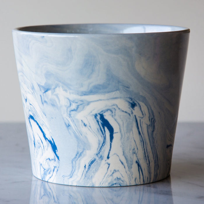"Blue & White Marbleized Vase (5.625"" h)"