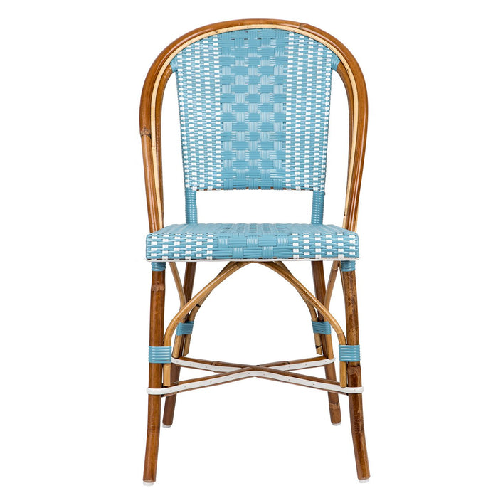Blue & White Mediterranean Bistro Round Back Chair (R)