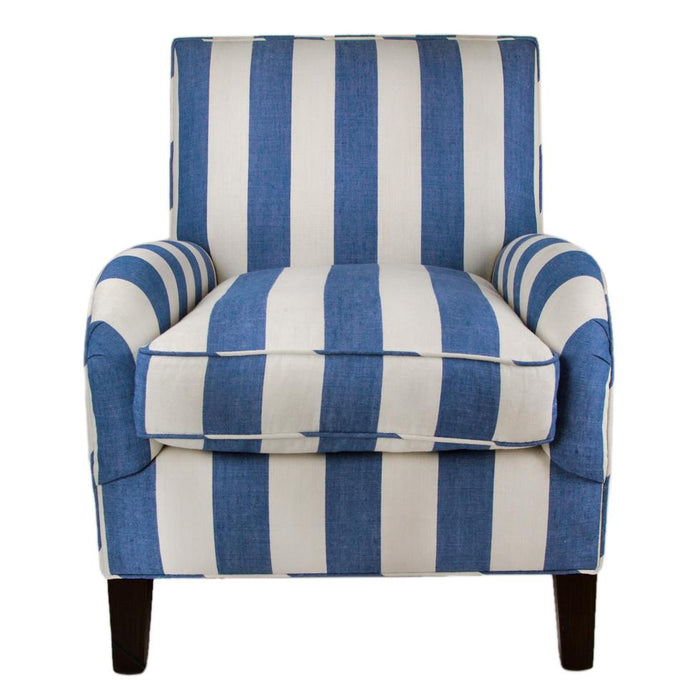 Blue & White Striped Poe Linen Upholstered Chair