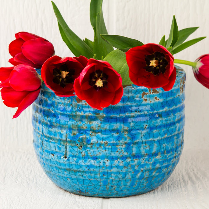"Blue Crackled Ridge Round Pot (6"" h)"
