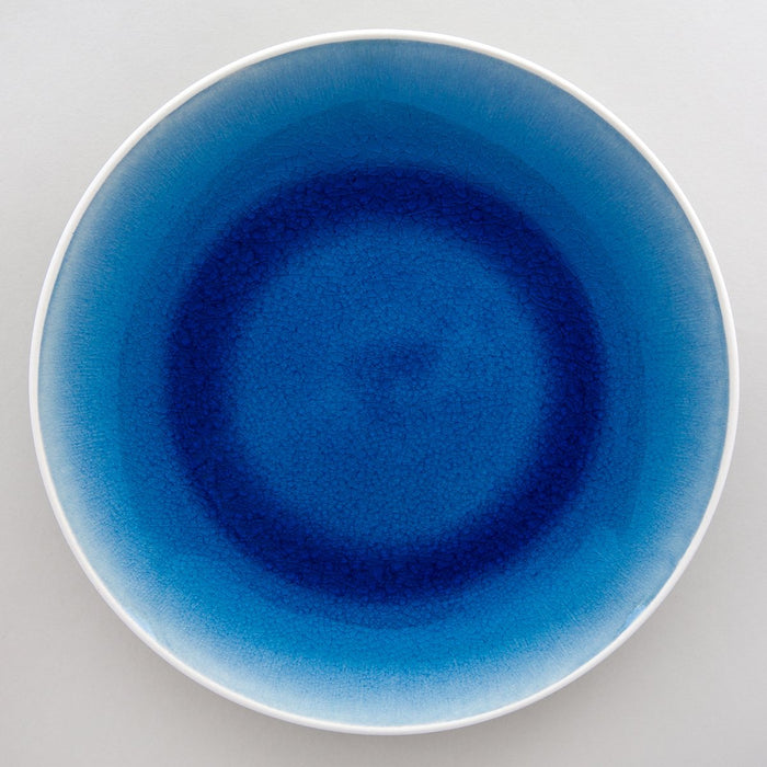 Blue Gloss Glazed Crackle Dinner Plate
