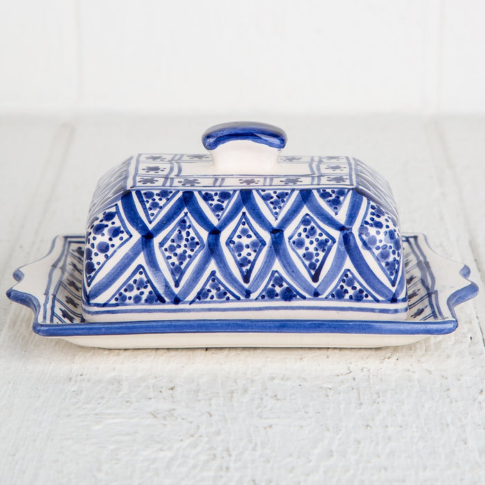 Blue Hand Painted Butter Dish