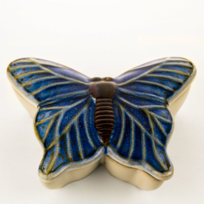 Blue Hand Painted Ceramic Butterfly Dish