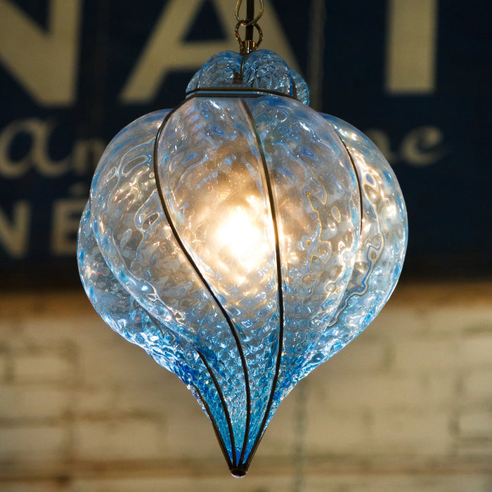 Blue Hot-Blown Artisan Murano Glass Baloton Lantern