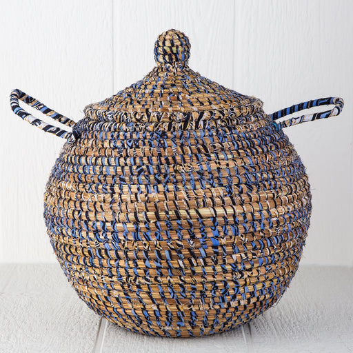 "Blue Linen African Basket Bell Jar With Lid (16""h)"