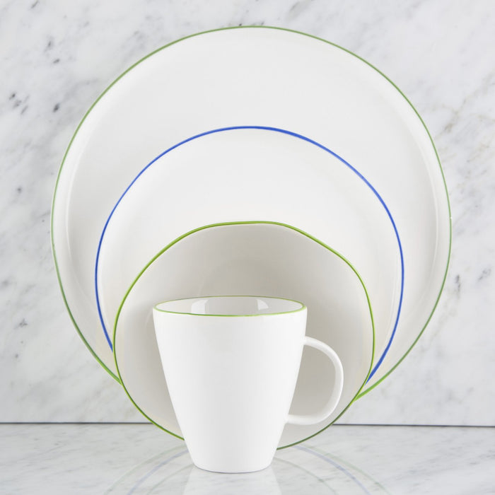 Blue Rimmed Ceramic Dinnerware