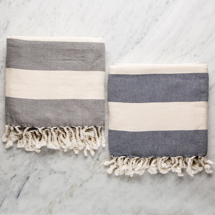 Blue Striped Amalfi Throw Blanket