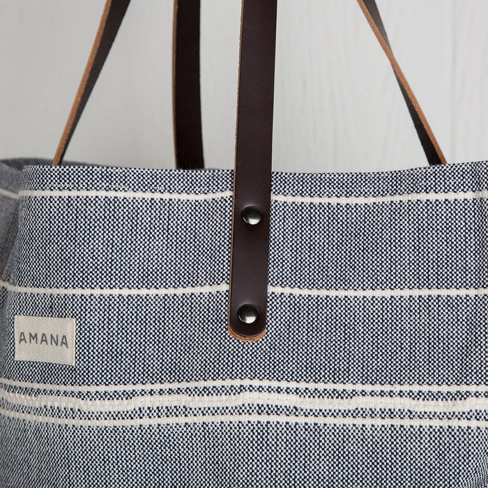 Blue Striped Cotton Bag