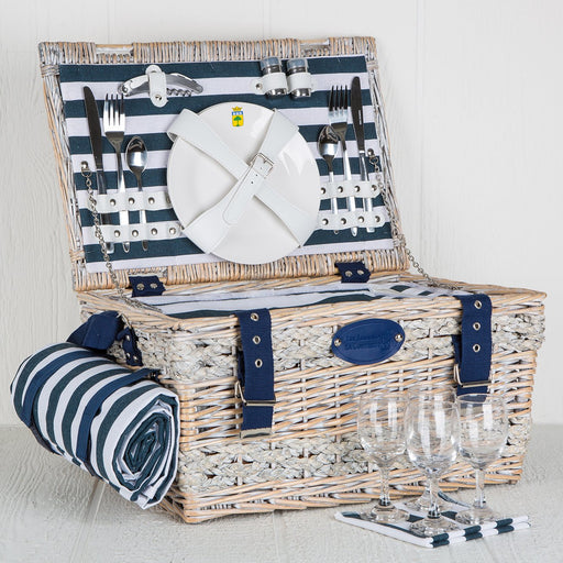 Blue Striped Wicker Picnic Basket (4 person)
