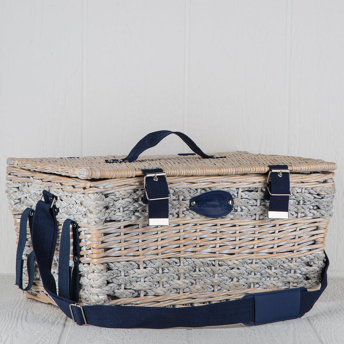 Blue Striped Wicker Picnic Basket (6 person)