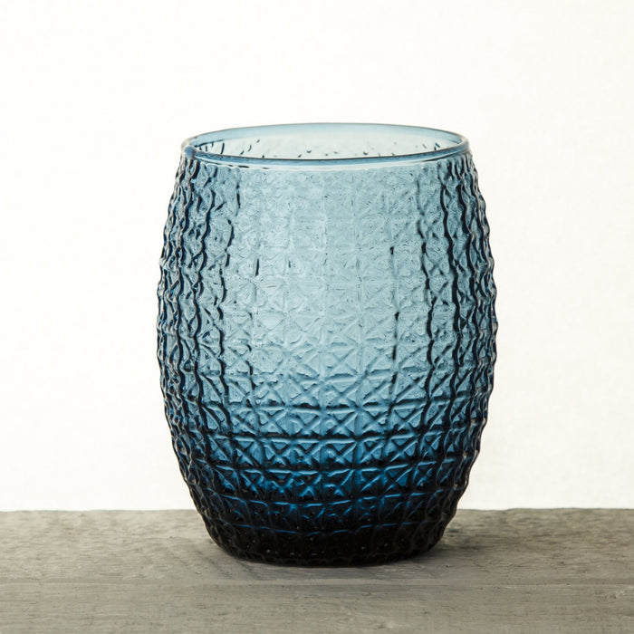 Blue Textured Double Old-Fashioned Glass