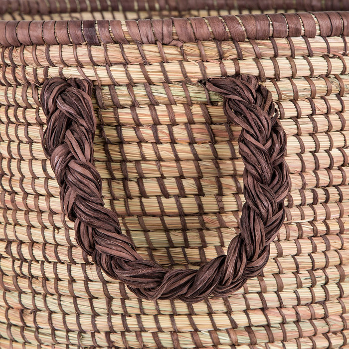 Brown African Leather Basket