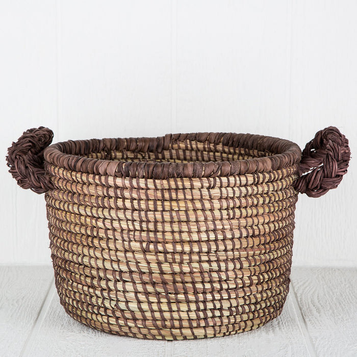 Brown African Leather Basket - Large