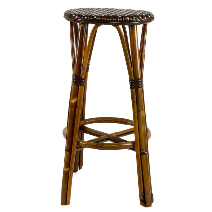 "Brown & Cream Bar Height Mediterranean Bistro Bar Stool (29"" h) (D)"