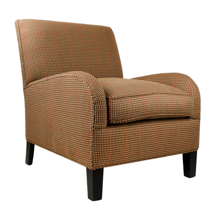 Brown & Red Houndstooth Poe Linen Upholstered Chair