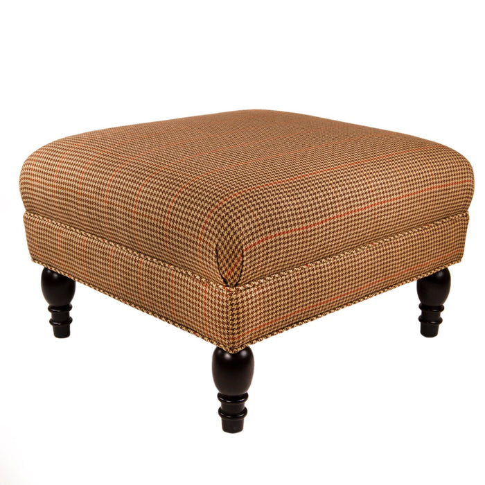 Brown & Red Houndstooth Poe Linen Upholstered Ottoman