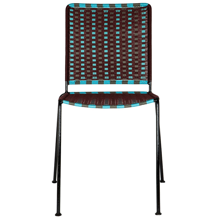 Brown & Turquoise Woven Artisan Metal Chair