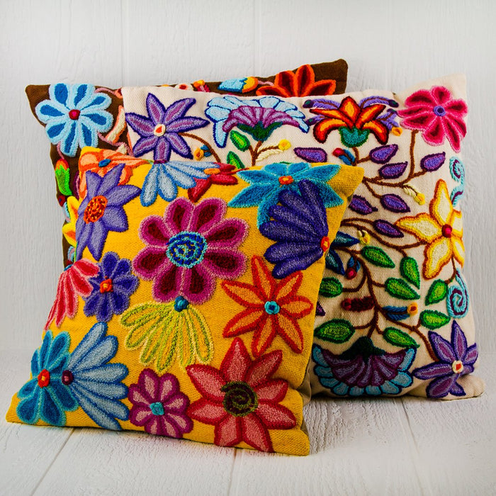 "Brown Floral Amarello Artisan Pillow (20"" x 20"")"