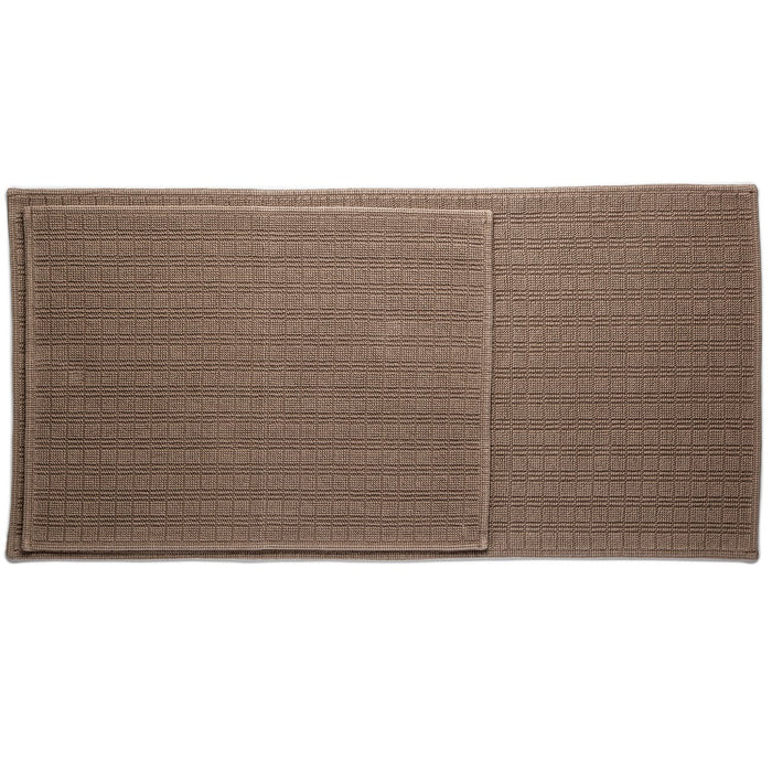 "Brown Motif Cotton Bath Mat (44"" x 22"")"