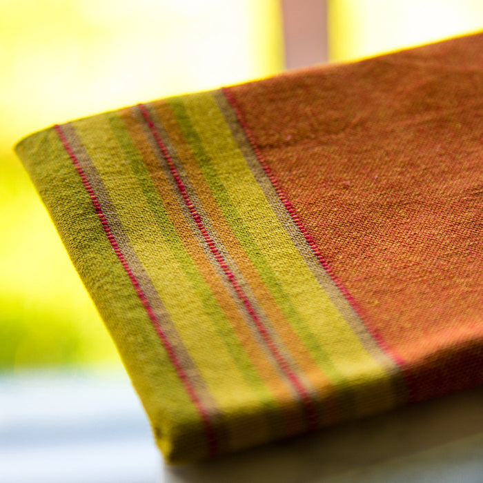 Burnt Orange & Green 100% Cotton Napkin